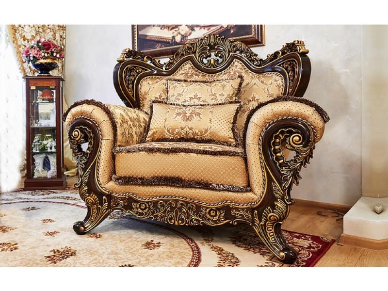 ЛОРД кресло орех с золотом