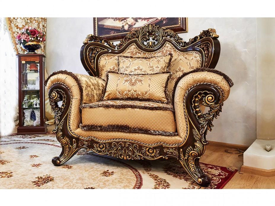 ЛОРД диван 2 местный орех с золотом