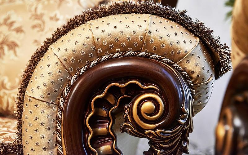 Набор мягкой мебели Лорд 3-2-1 орех с золотом