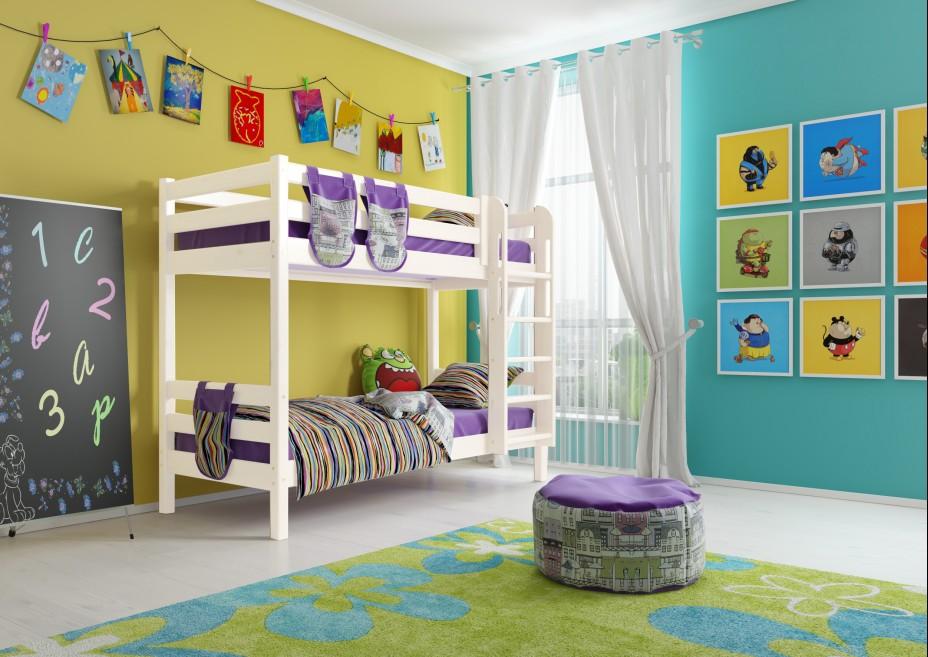 Кровать 2-х ярусная Соня с прямой лестницей , вариант 9 п/прозрачный лак