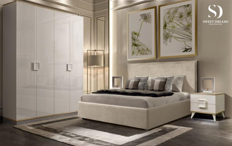Шкаф 4-дверный для платья и белья (без зеркал) Diora Слоновая кость/Серебро