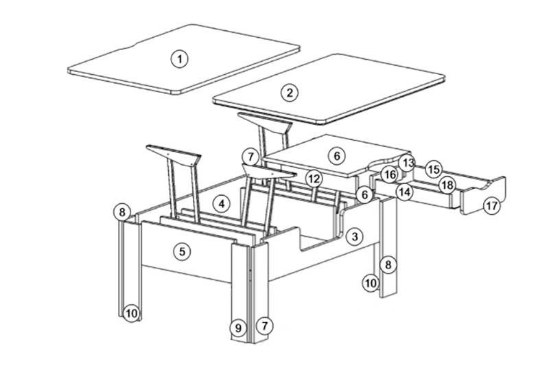 Стэп-3 журнальный стол-трансформер