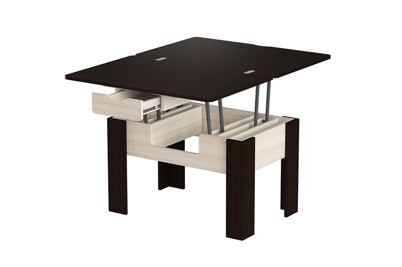 Стэп-3 журнальный стол-трансформер (Ясень Шимо Светлый, Венге)