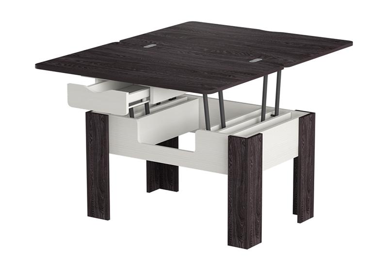 Стэп-3 журнальный стол-трансформер (Бодега Белый, Ясень Черный)