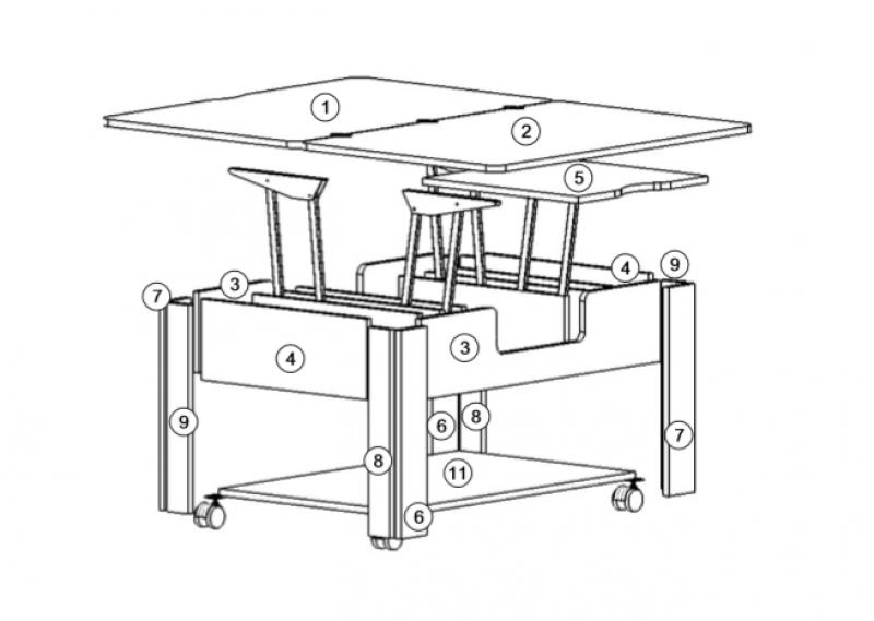 Стэп-4 журнальный стол-трансформер