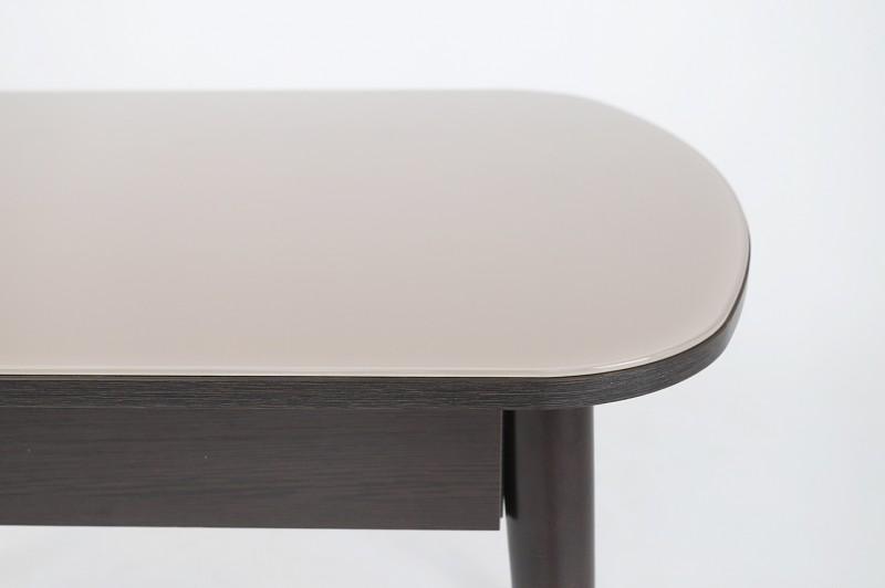 Хоста-3 стол с ящиком Цилиндрические опоры (Капучино)