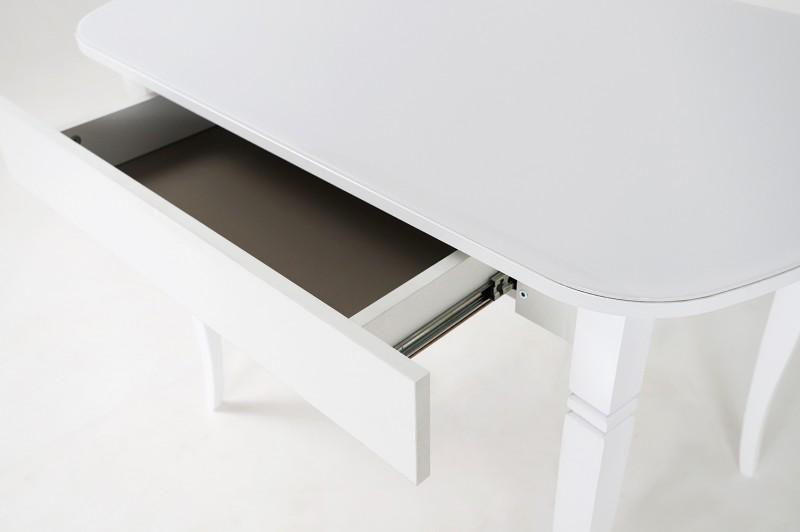 Хоста-3 стол с ящиком Резные опоры (Белый)