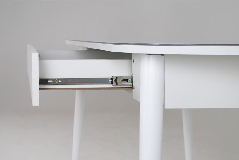 Хоста-3 стол с ящиком Цилиндрические опоры (Белый)