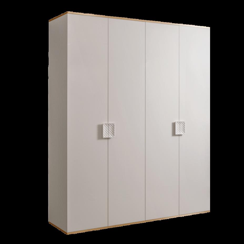 Шкаф 4-дверный для платья и белья (без зеркал) Diora Слоновая кость/Золото