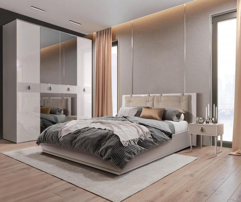 Кровать 2-спальная RIMINI VISION 1,6 м с подъемным механизмом (Слоновая кость)