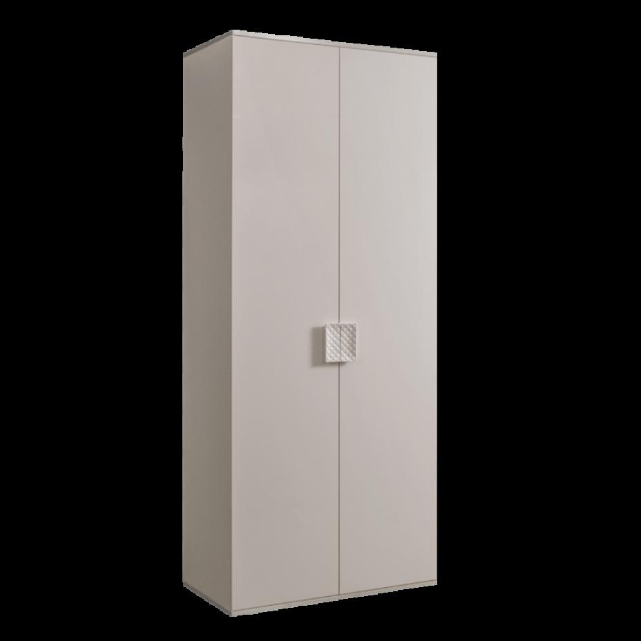 Шкаф 2-дверный для платья и белья (без зеркал) Diora Слоновая кость/Серебро