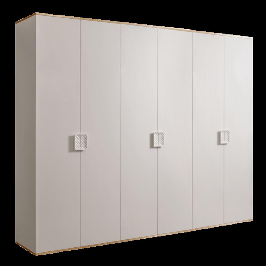 Шкаф 6-дверный для платья и белья (без зеркал) Diora Слоновая кость/Золото