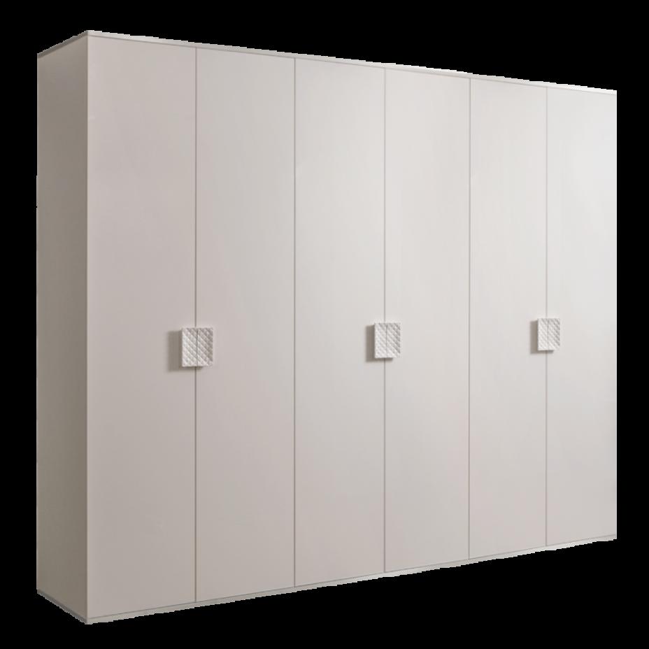 Шкаф 6-дверный для платья и белья (без зеркал) Diora Слоновая кость/Серебро