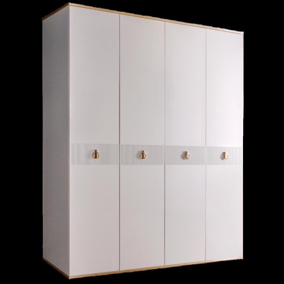Шкаф 4-дверный для платья и белья (без зеркал) Rimini  Белый/Золото