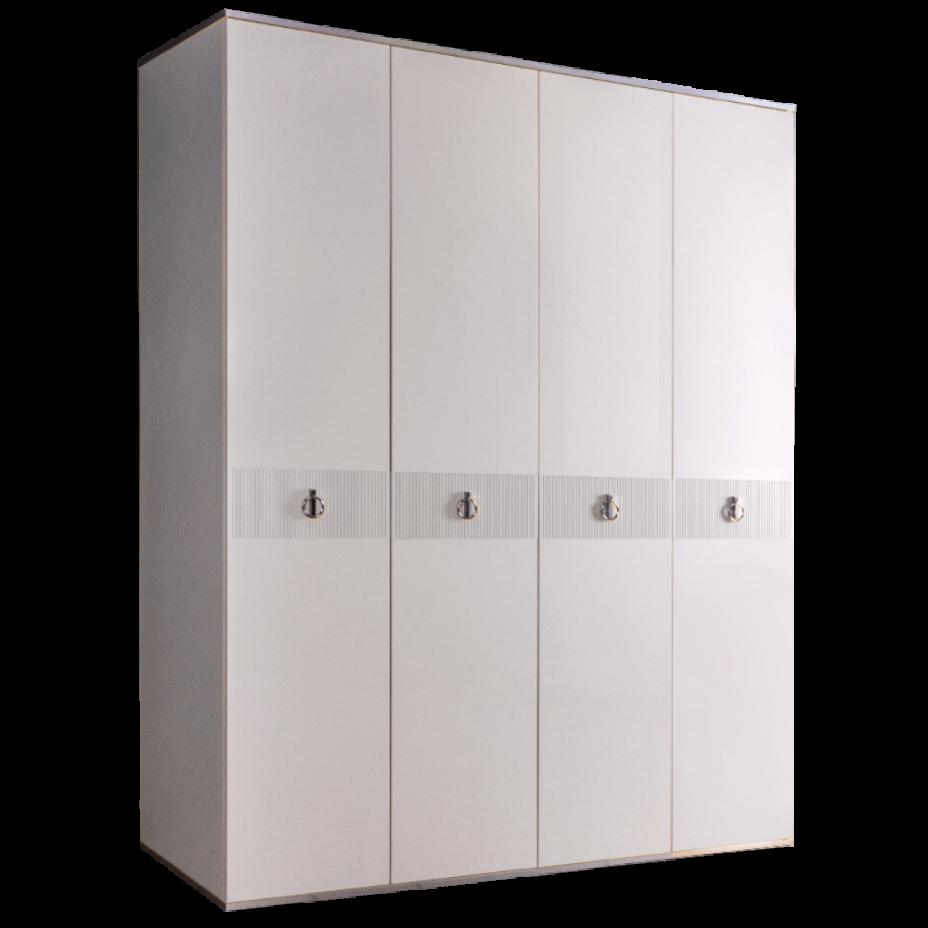 Шкаф 4-дверный для платья и белья (без зеркал) Rimini  Белый/Серебро
