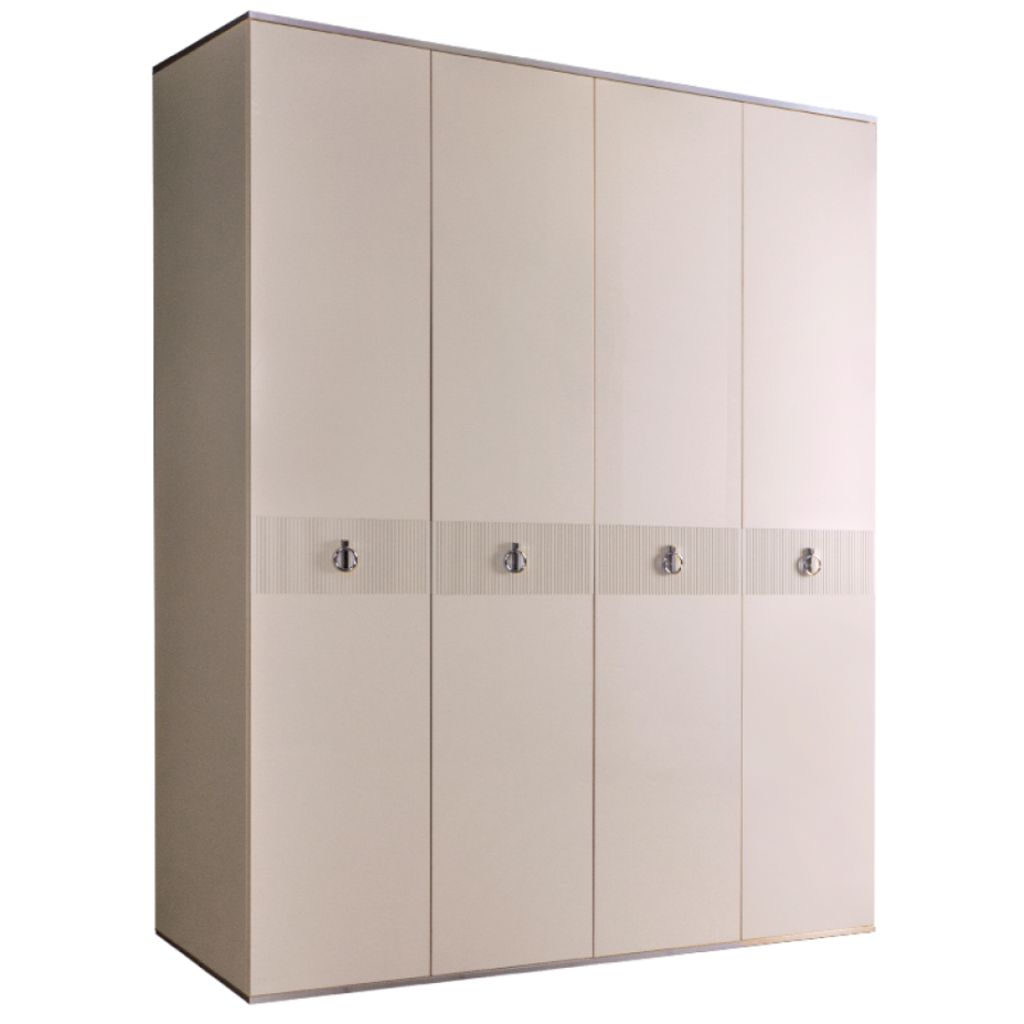 Шкаф 4-дверный для платья и белья (без зеркал) Rimini  Слоновая кость/Серебро
