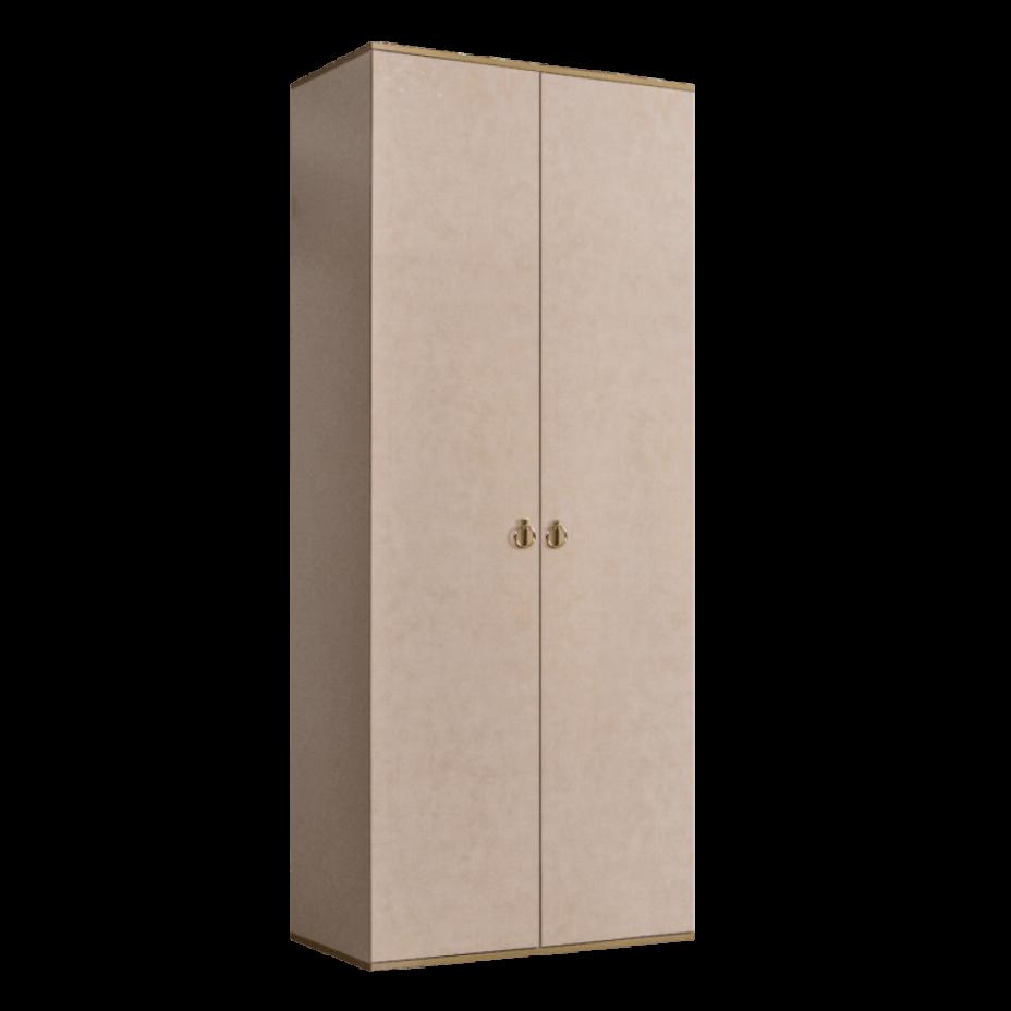 Шкаф 2-дверный для платья и белья (без зеркал) Rimini Латте/золото