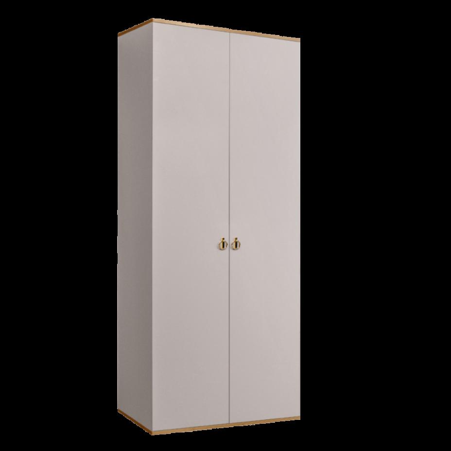 Шкаф 2-дверный для платья и белья (без зеркал) Rimini Слоновая кость/Золото