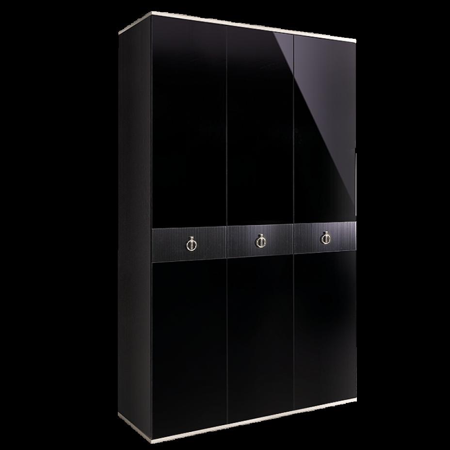 Шкаф 3-дверный для платья и белья (без зеркал) Rimini Черный/серебро