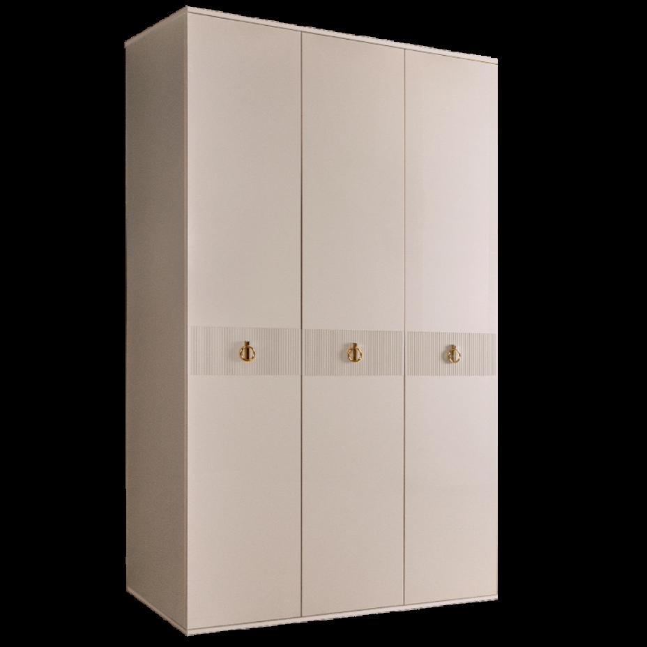 Шкаф 3-дверный для платья и белья (без зеркал) Rimini Бежевый/серебро