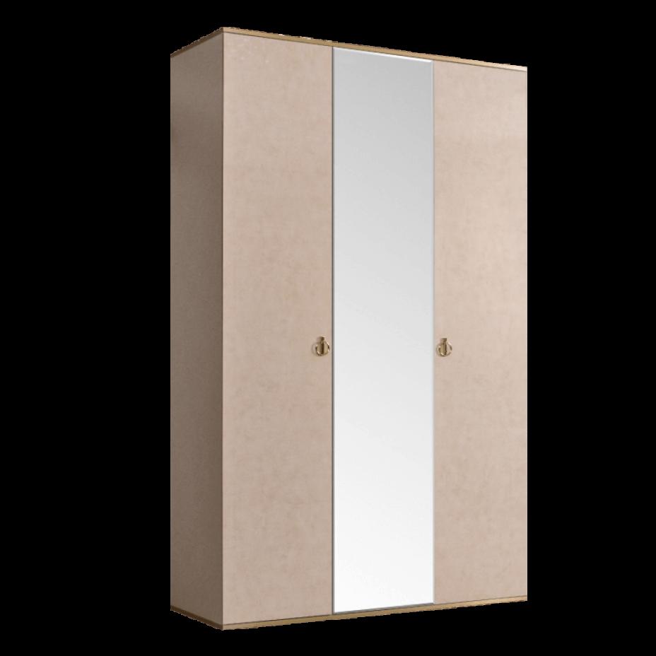 Шкаф 3-дверный для платья и белья (1 зеркало) Rimini Латте/золото