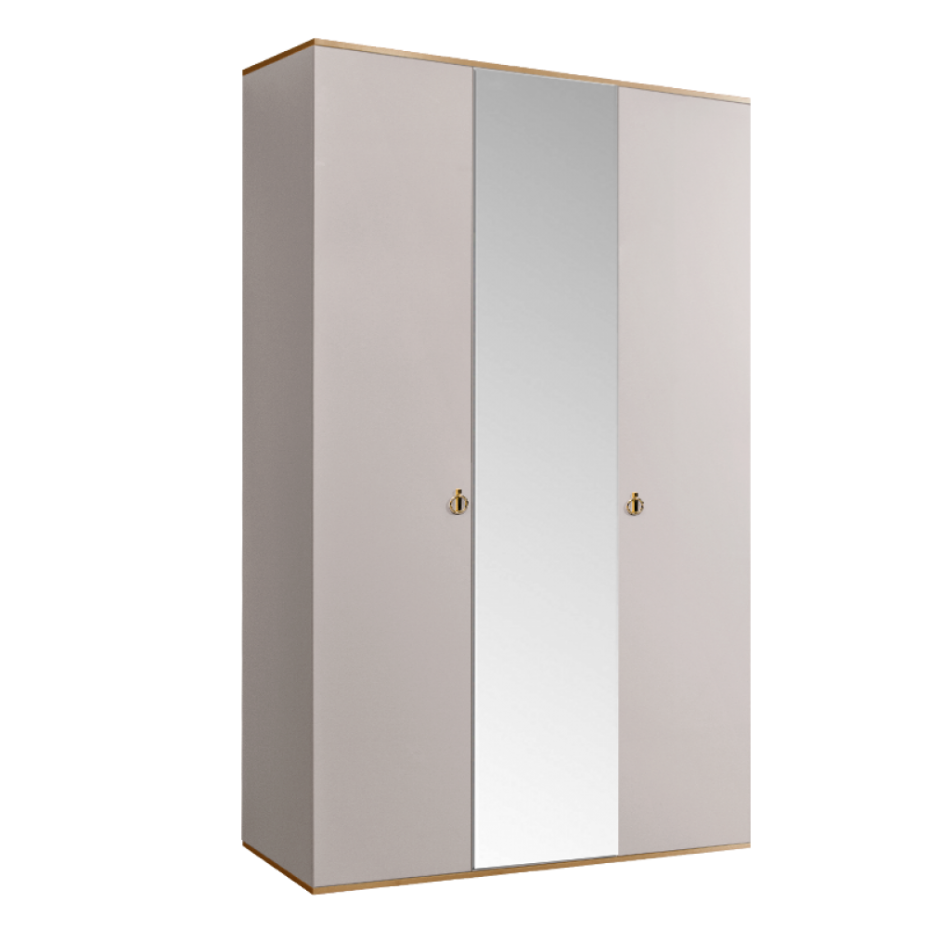 Шкаф 3-дверный для платья и белья (1 зеркало) Rimini Слоновая кость/Золото