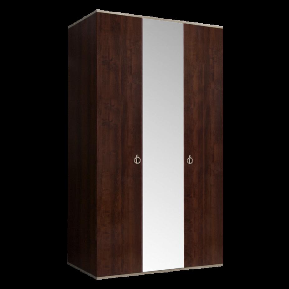 Шкаф 3-дверный для платья и белья (1 зеркало) Rimini Орех Орегон/Серебро