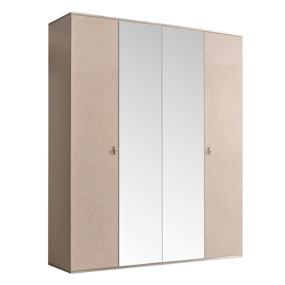 Шкаф 4-дверный для платья и белья (2 зеркала) Rimini Латте/серебро