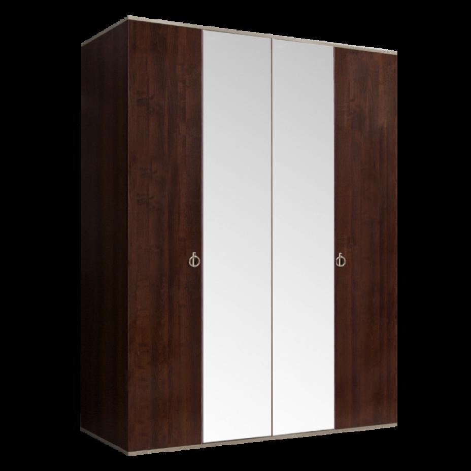 Шкаф 4-дверный для платья и белья (2 зеркала) Rimini Орех Орегон/Серебро