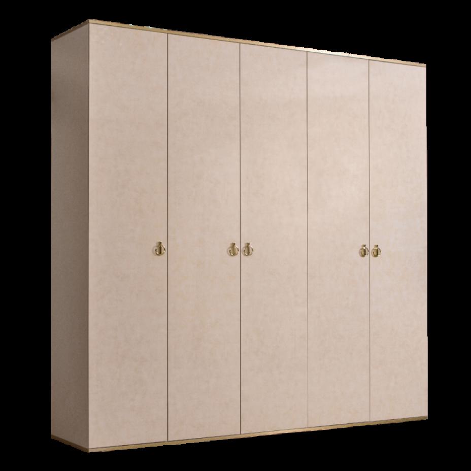 Шкаф 5-дверный для платья и белья (без зеркал) Rimini Латте/золото