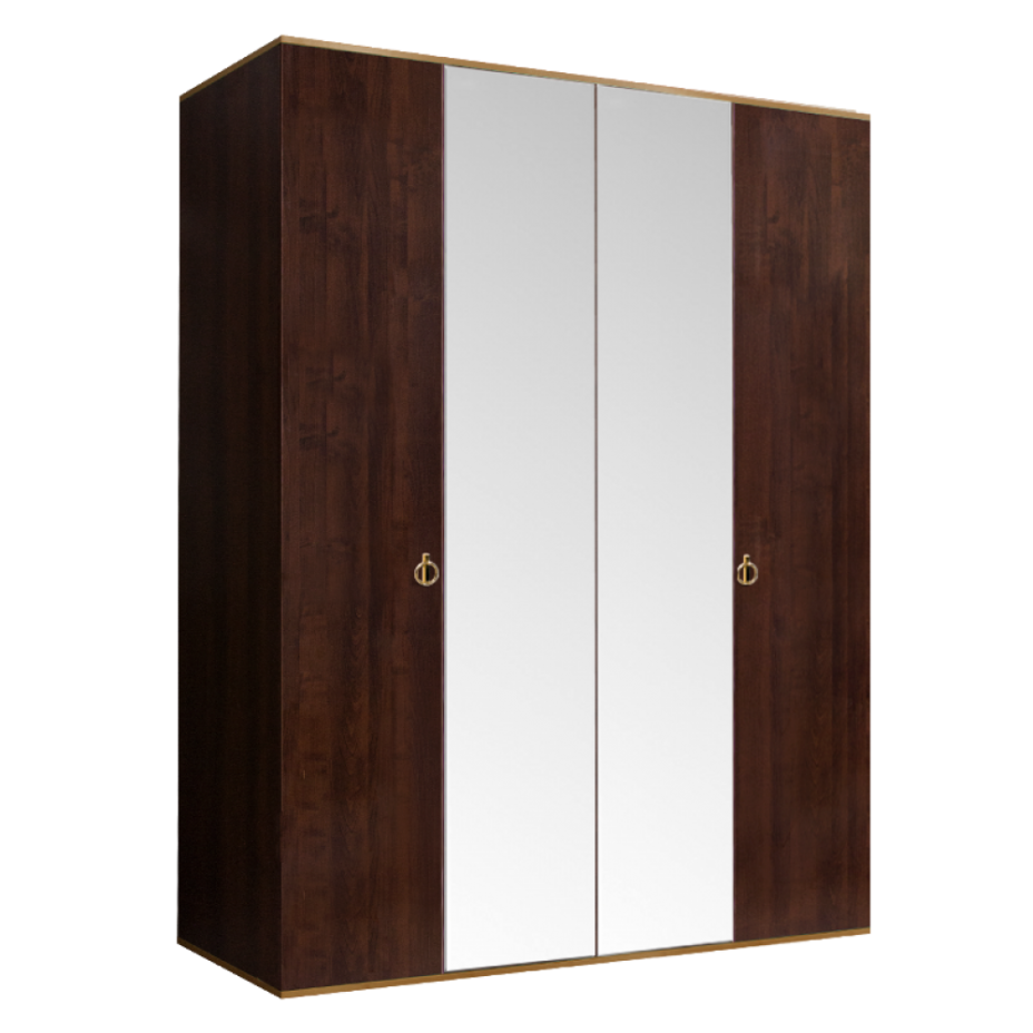 Шкаф 4-дверный для платья и белья (2 зеркала) Rimini Орех Орегон/Золото