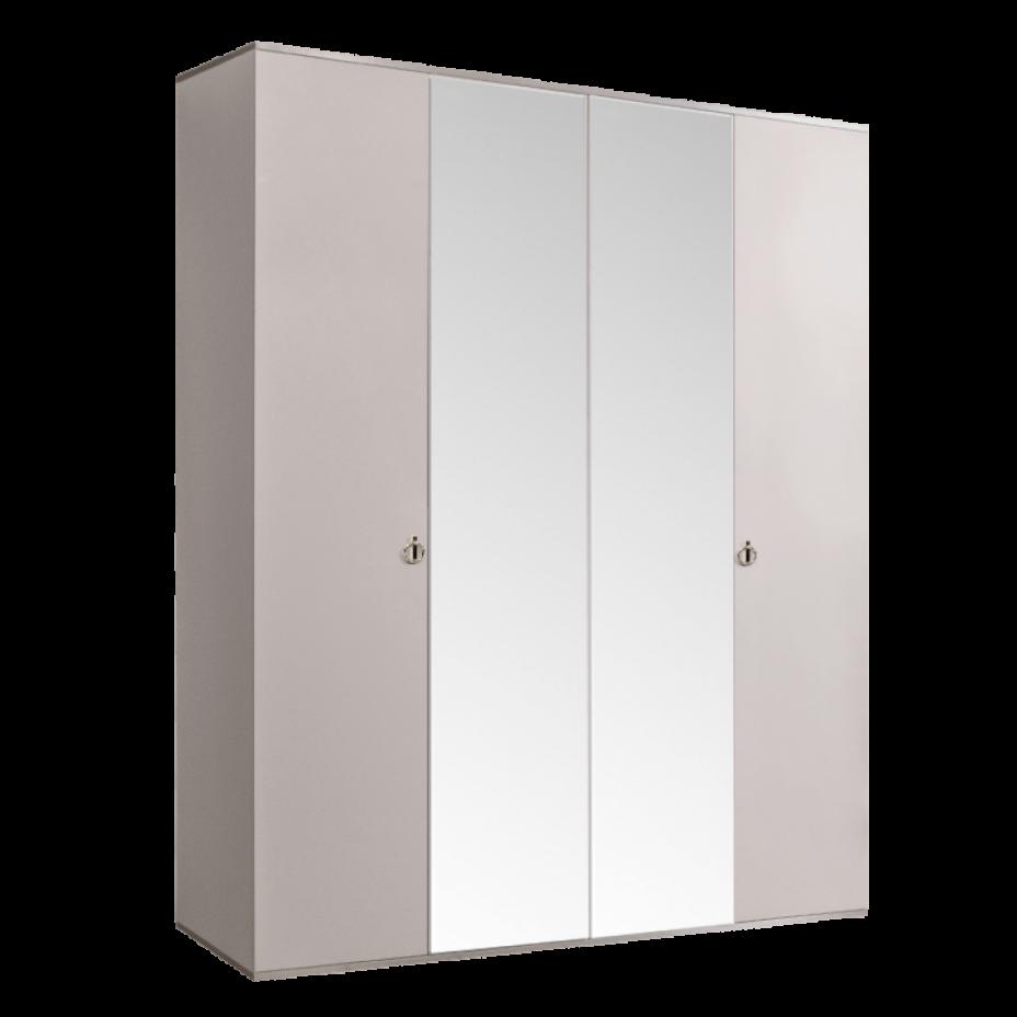 Шкаф 4-дверный для платья и белья (2 зеркала) Rimini Слоновая кость/Серебро