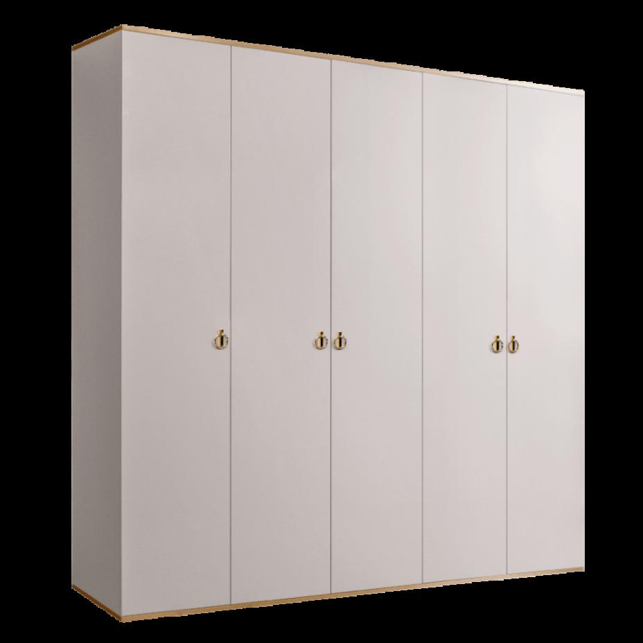 Шкаф 5-дверный для платья и белья (без зеркал) Rimini Слоновая кость/Золото
