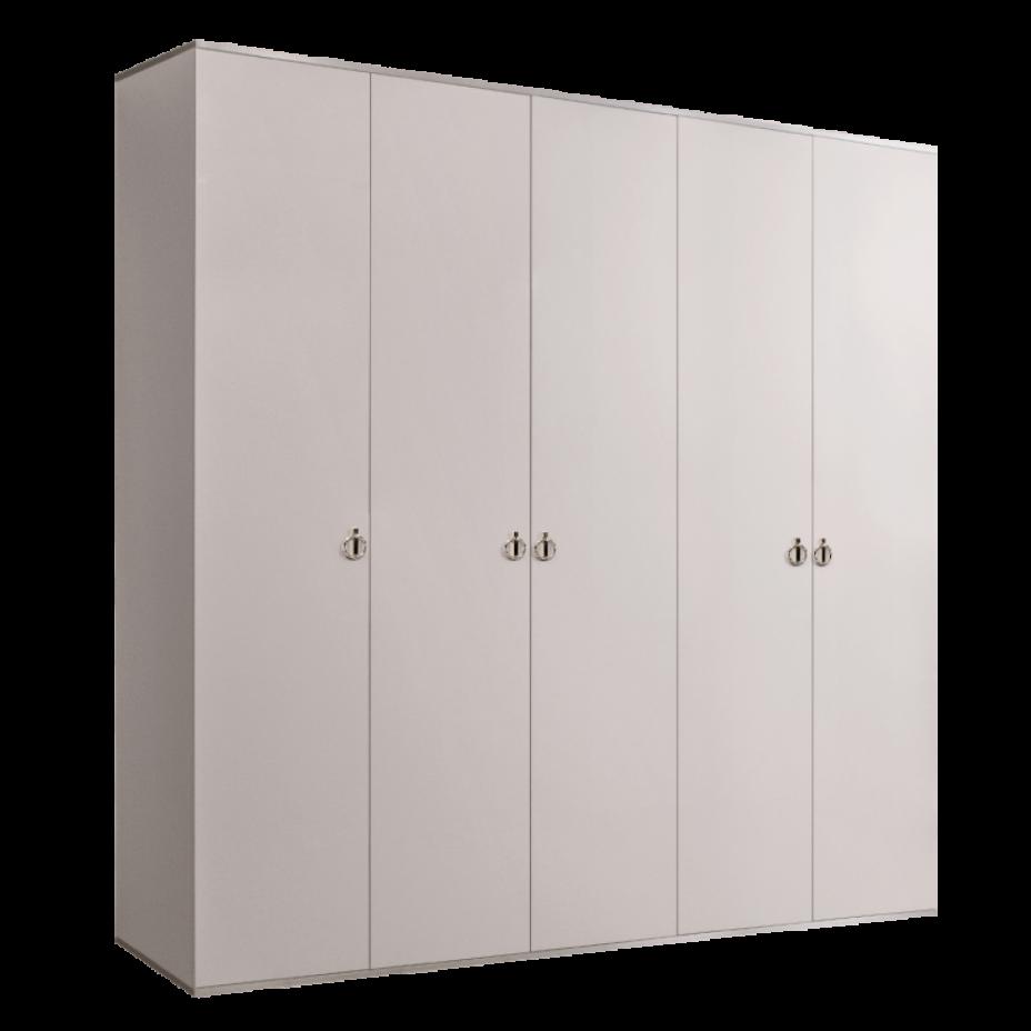Шкаф 5-дверный для платья и белья (без зеркал) Rimini Слоновая кость/Серебро