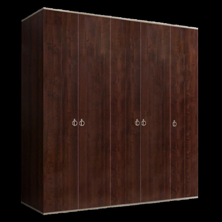 Шкаф 5-дверный для платья и белья (без зеркал) Rimini Орех Орегон/Серебро