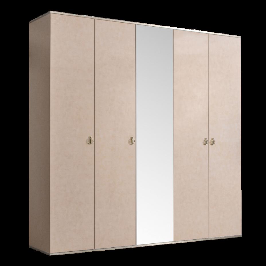 Шкаф 5-дверный для платья и белья (1 зеркало) Rimini Латте/серебро