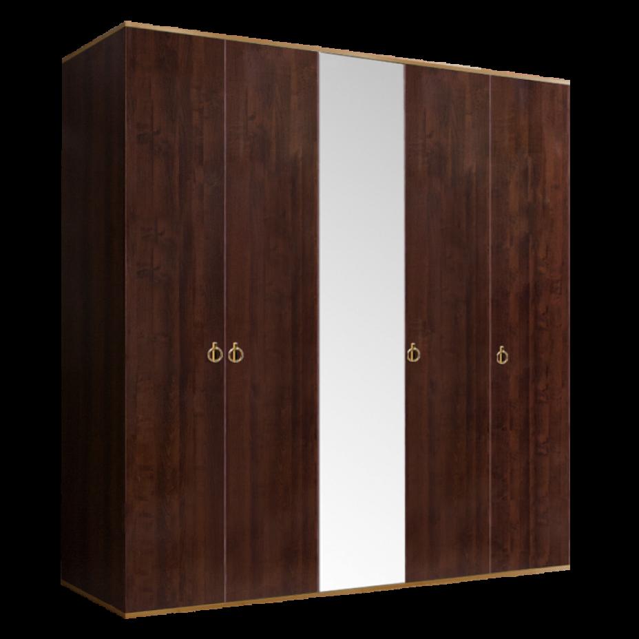 Шкаф 5-дверный для платья и белья (1 зеркало) Rimini Орех Орегон/Золото