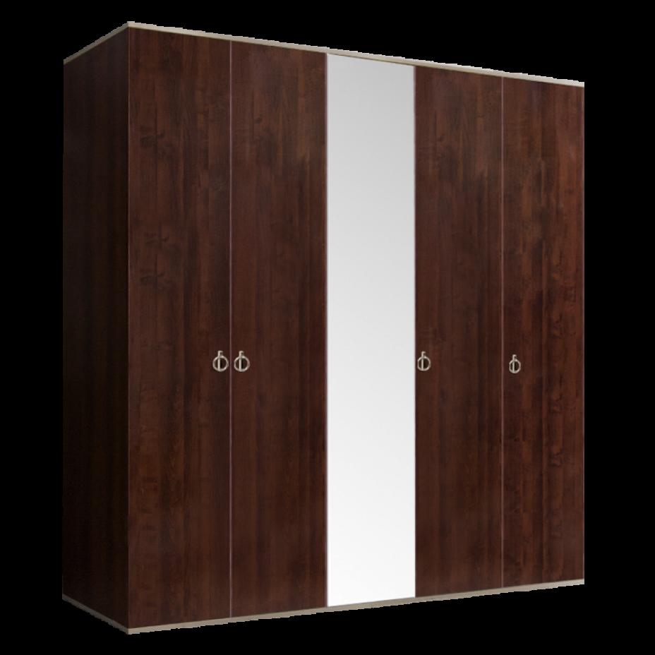 Шкаф 5-дверный для платья и белья (1 зеркало) Rimini Орех Орегон/Серебро