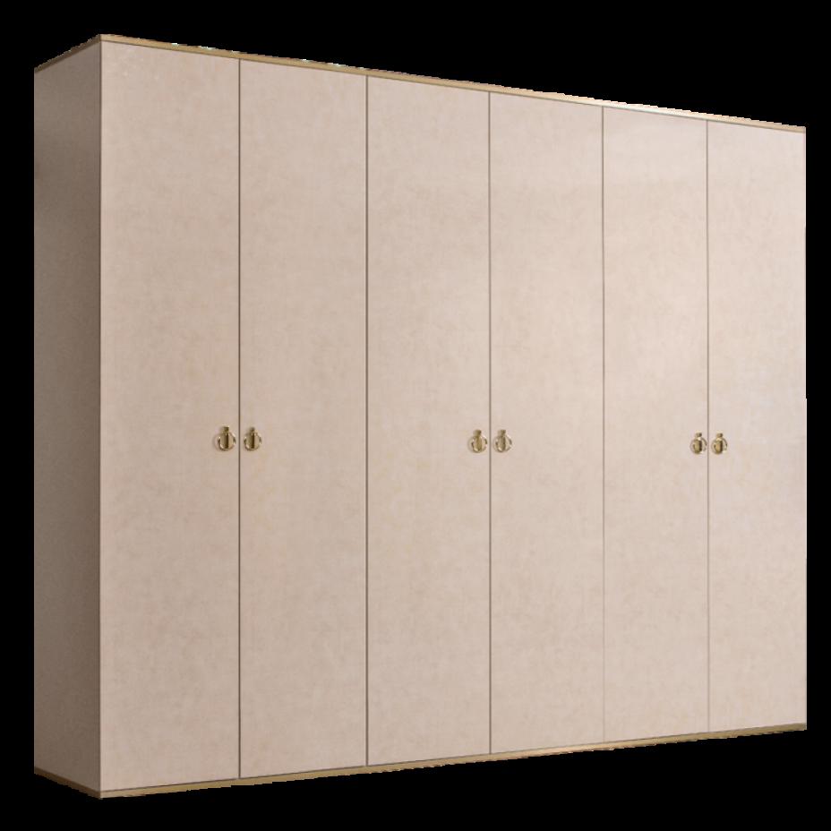 Шкаф 6-дверный для платья и белья (без зеркал) Rimini Латте/золото