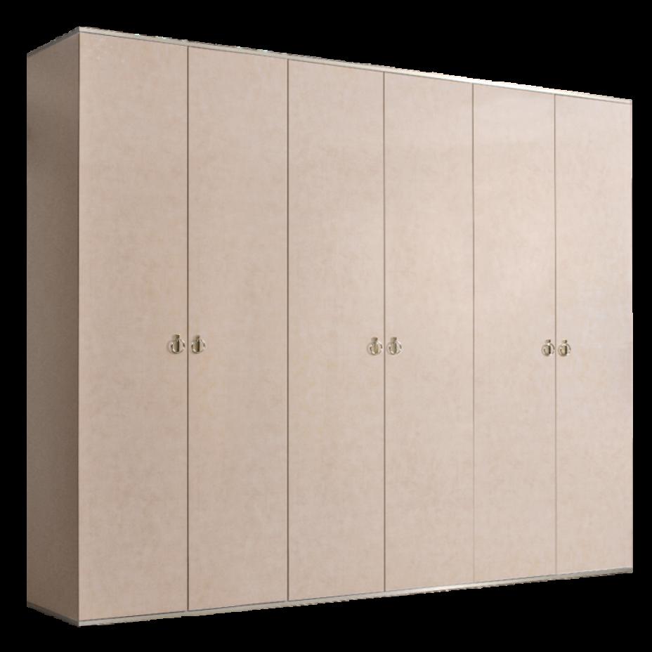 Шкаф 6-дверный для платья и белья (без зеркал) Rimini Латте/серебро