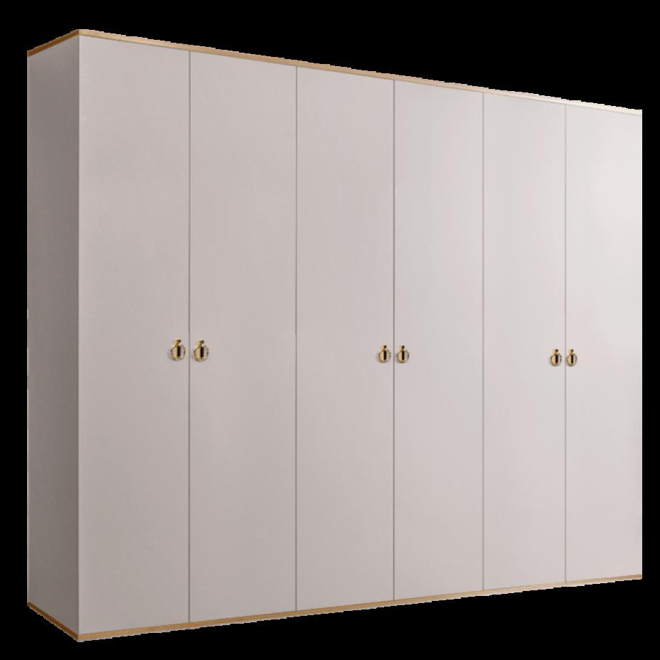 Шкаф 6-дверный для платья и белья (без зеркал) Rimini Слоновая кость/Золото