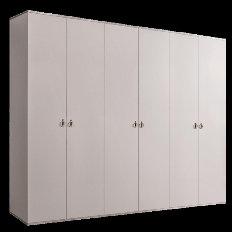 Шкаф 6-дверный для платья и белья (без зеркал) Rimini Слоновая кость/Серебро