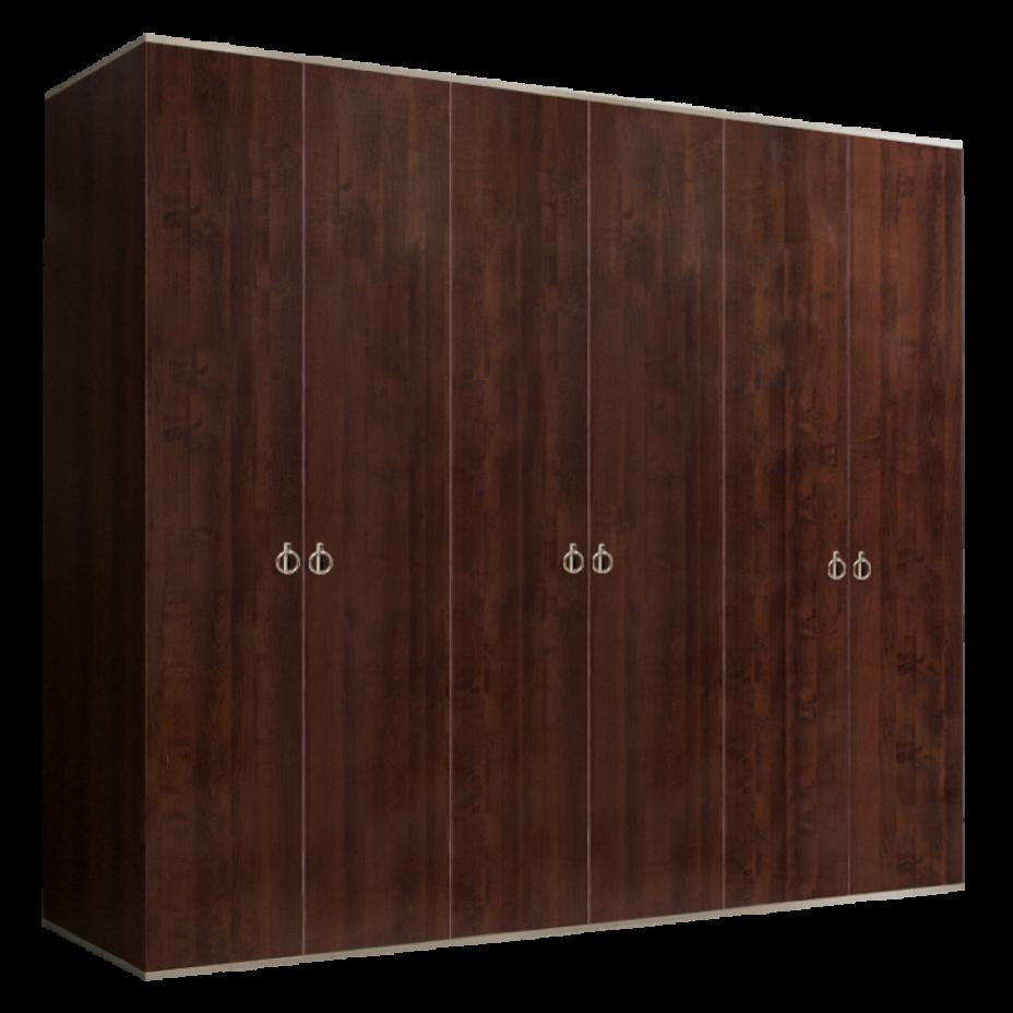 Шкаф 6-дверный для платья и белья (без зеркал) Rimini Орех Орегон/Серебро