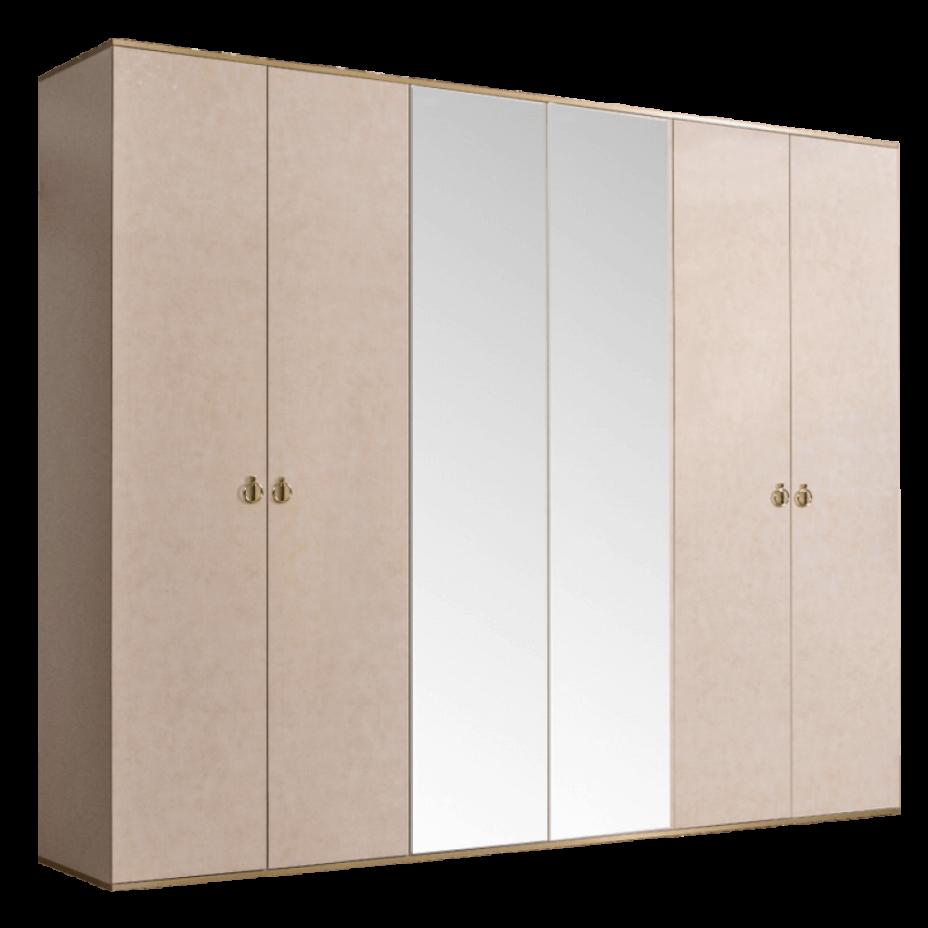 Шкаф 6-дверный для платья и белья (2 зеркала) Rimini Латте/золото