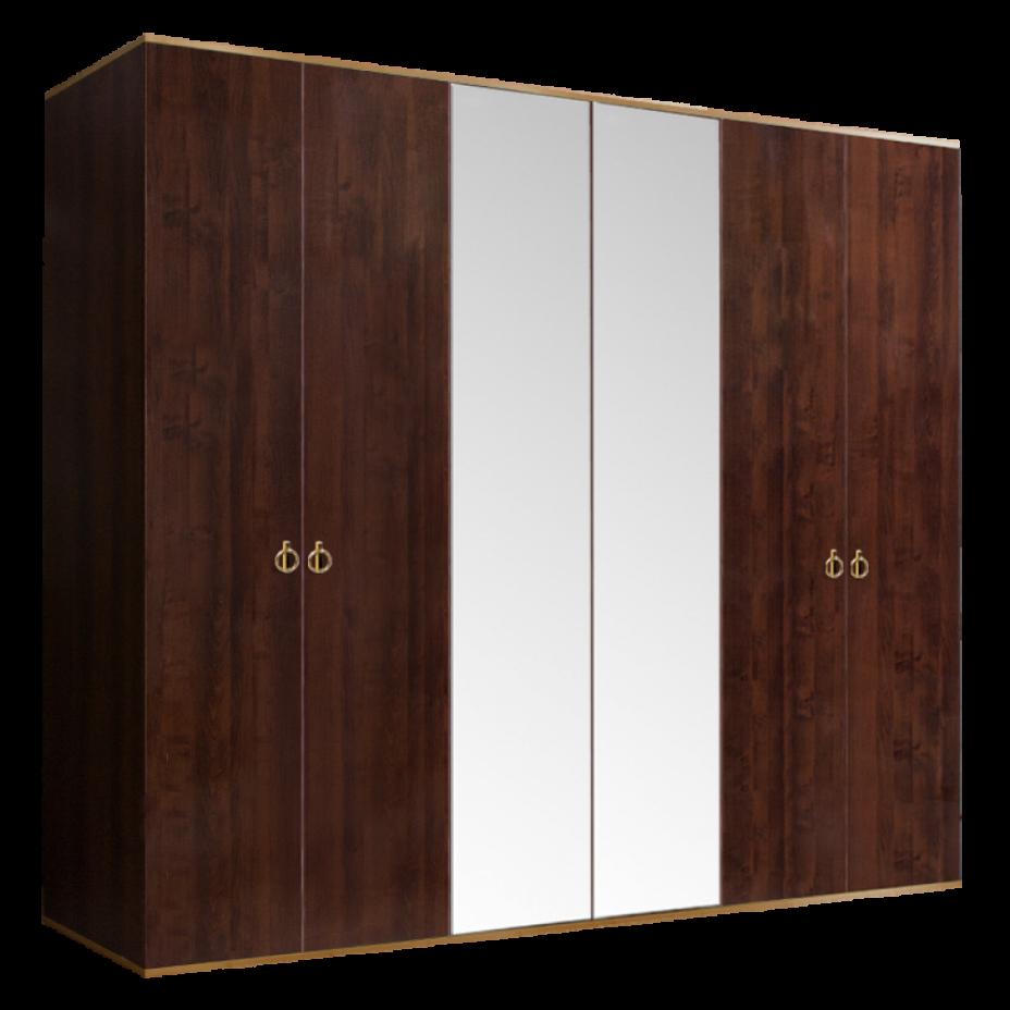 Шкаф 6-дверный для платья и белья (2 зеркала) Rimini Орех Орегон/Золото