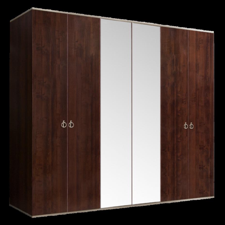 Шкаф 6-дверный для платья и белья (2 зеркала) Rimini Орех Орегон/Серебро