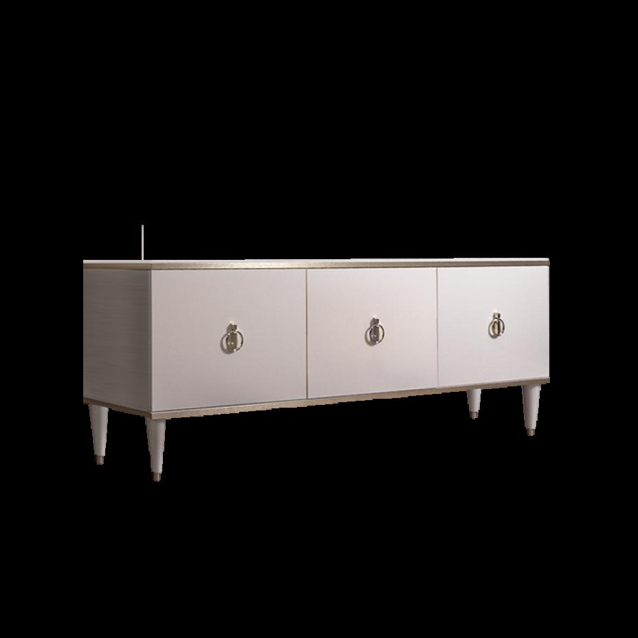 Тумба для теле- и радиоаппаратуры (3 двери) Rimini Слоновая кость/Серебро