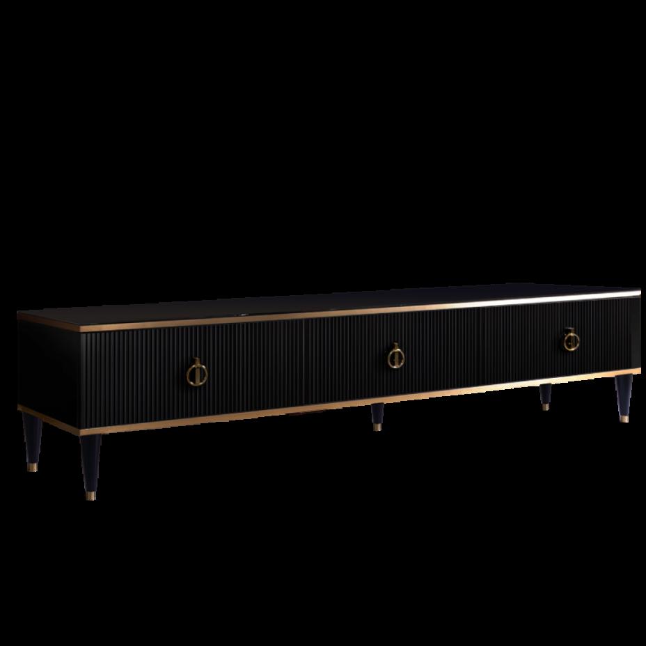 Тумба для теле- и радиоаппаратуры (3 ящика)(3д-3 ящика) Rimini Solo Черный/золото