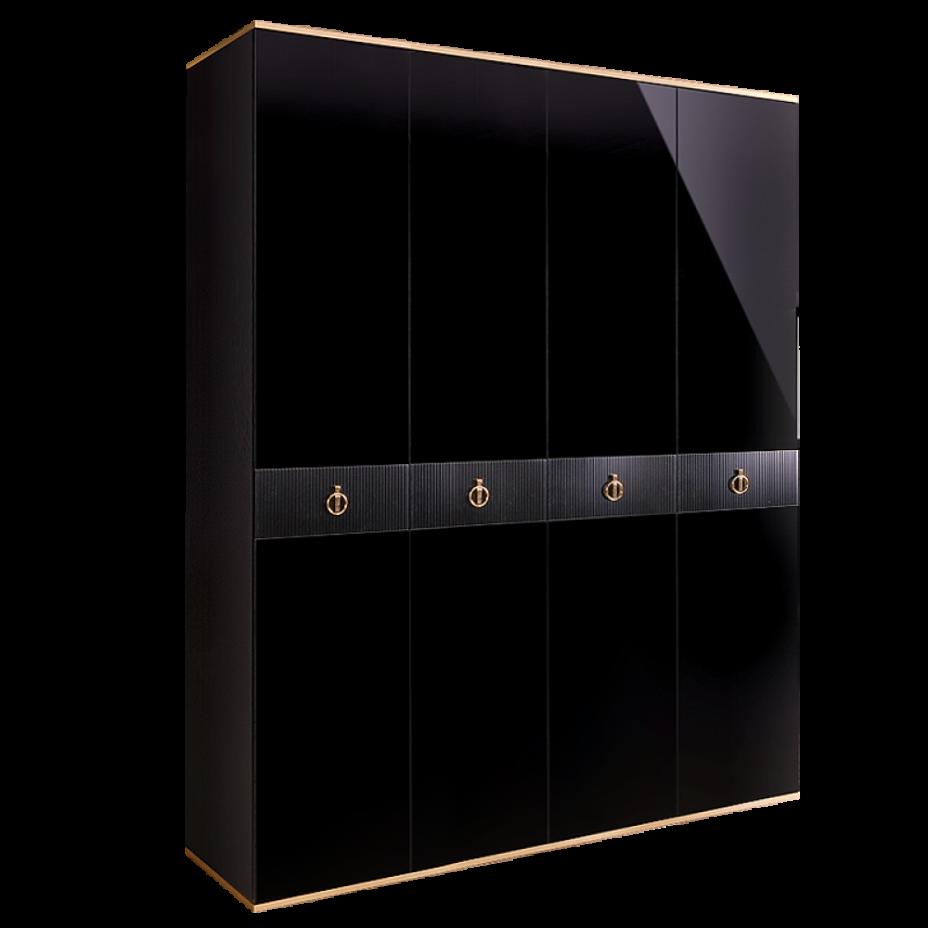 Шкаф 4-дверный для платья и белья (без зеркал) Rimini Solo Черный/золото
