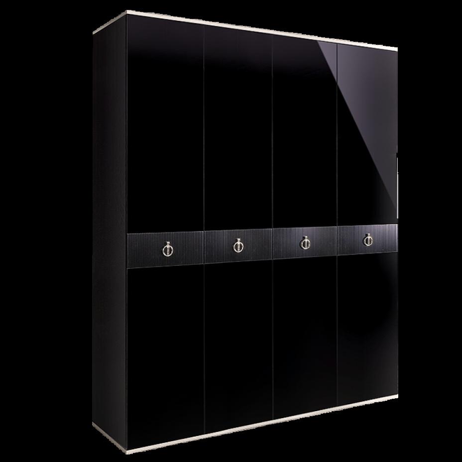 Шкаф 4-дверный для платья и белья (без зеркал) Rimini Solo Черный/серебро